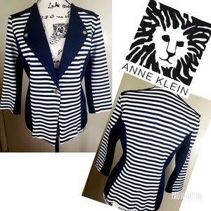 Anne Klein navy and white striped blazer